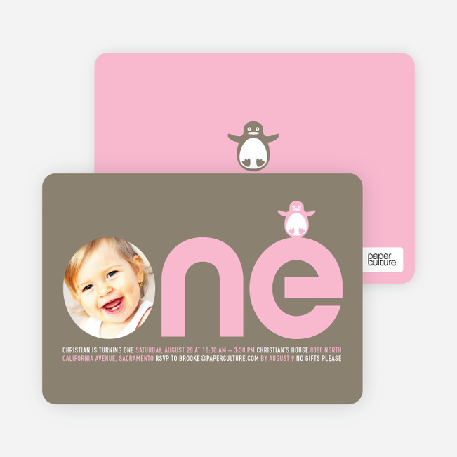 Penguin 1st Birthday Photo Invitation - Baby Pink