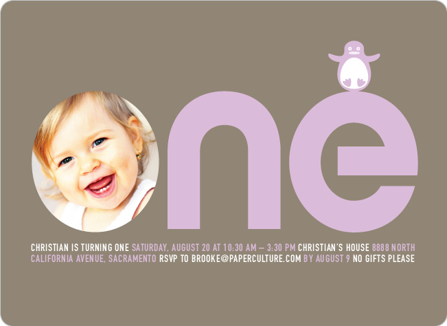 Penguin 1st Birthday Photo Invitation - Lilac