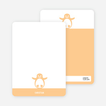 Personal Stationery for Penguin 1st Birthday Photo Invitation - Orange Sherbet