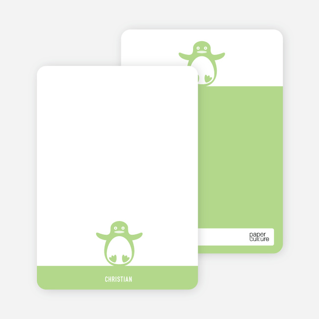 Personal Stationery for Penguin 1st Birthday Photo Invitation - Pistachio