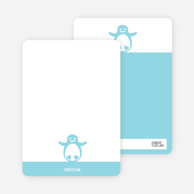 Personal Stationery for Penguin 1st Birthday Photo Invitation - Cornflower Blue