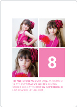 Polka Dot Three Photo Birthday Party Invites - Pink