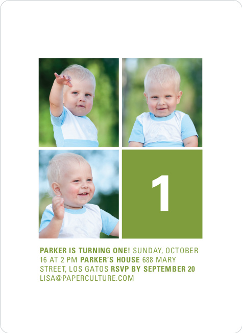 Polka Dot Three Photo Birthday Party Invites - Brown