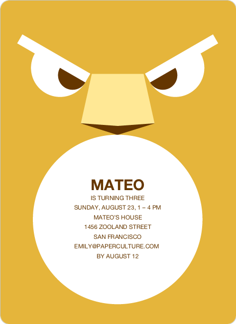 Roaring Lion Modern Birthday Invitation - Mustard