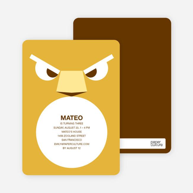 Roaring Lion Modern Birthday Invitation - Mustard