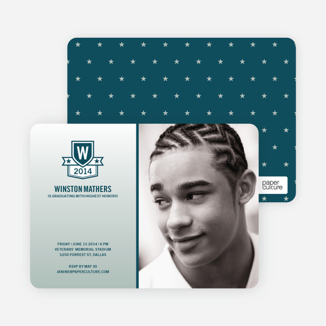 School Shield Graduation Announcements and Invitations - Glacier