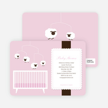 Sheep Mobile Baby Shower Invitations - Pink Mobile