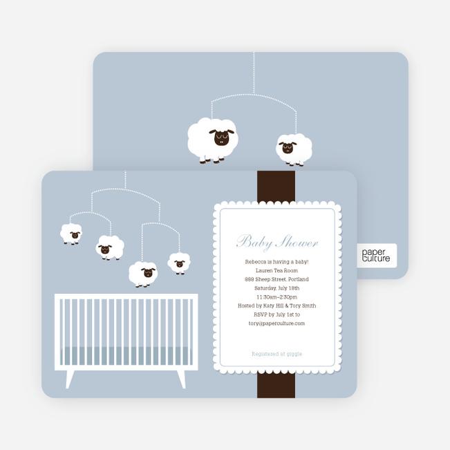 Sheep Mobile Baby Shower Invitations - Blue Night Light
