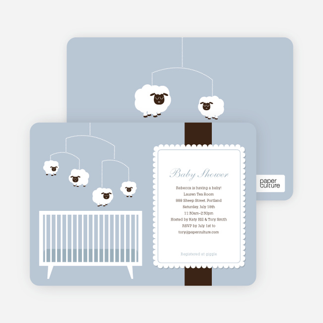 Sheep Mobile Baby Shower Invitations - Blue Night Light