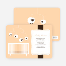Sheep Mobile Baby Shower Invitations - Peach Pal
