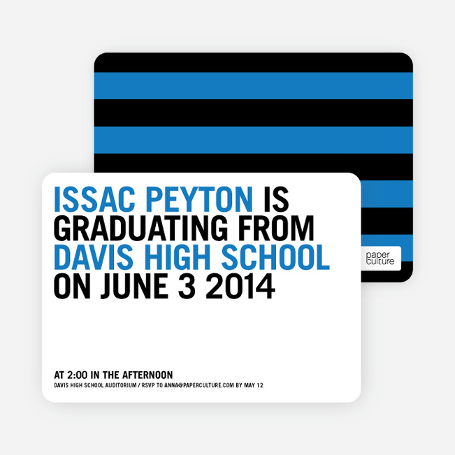 Simple Graduation Invitations - Cool Blue