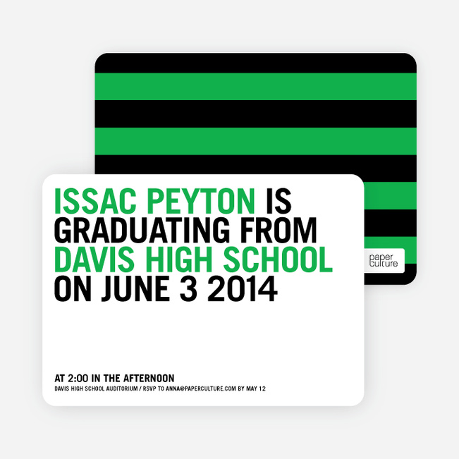 Simple Graduation Invitations - Green Grad