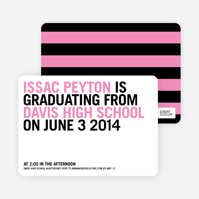 Simple Graduation Invitations - Hot Pink