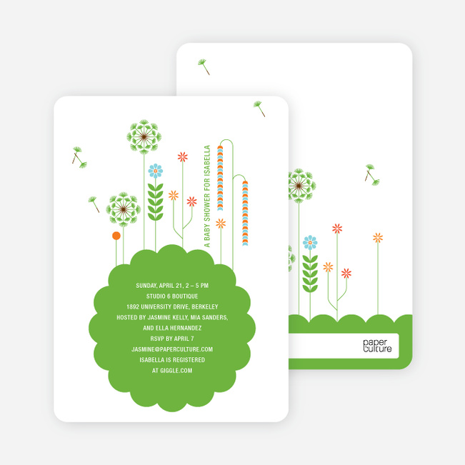 Springtime Baby Shower Invitations - Paper Culture Green