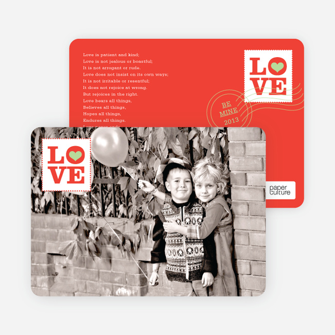 Stamp of Love Valentine's Day Cards - Tomato Red