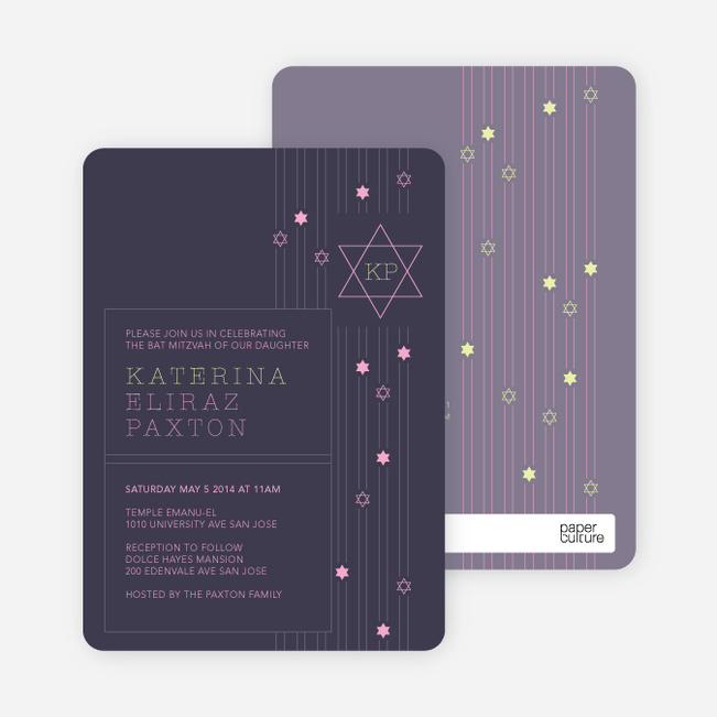 Star of David Bar and Bat Mitzvah Invitations - Purple