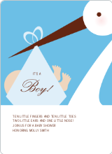 Stork Baby Shower Invites - Sky Blue