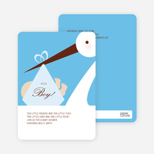 Stork Baby Shower Invitations - Sky Blue