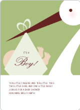 Stork Baby Shower Invites - Lemongrass
