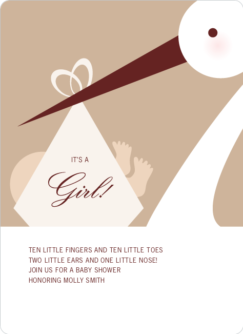 Stork Baby Shower Invitations - Almond