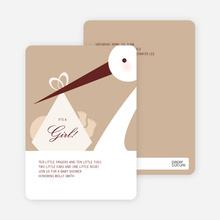 Stork Baby Shower Invitations - Almond