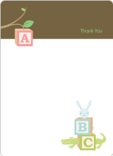 Thank You Card for Alphabet Blocks Baby Shower Invitation - Walnut