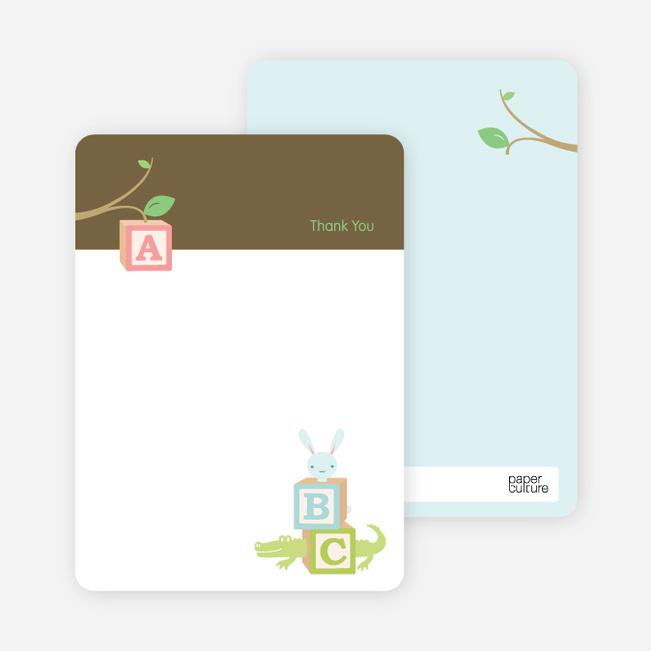 Thank You Card for Alphabet Blocks Baby Shower Invitation - Walnut