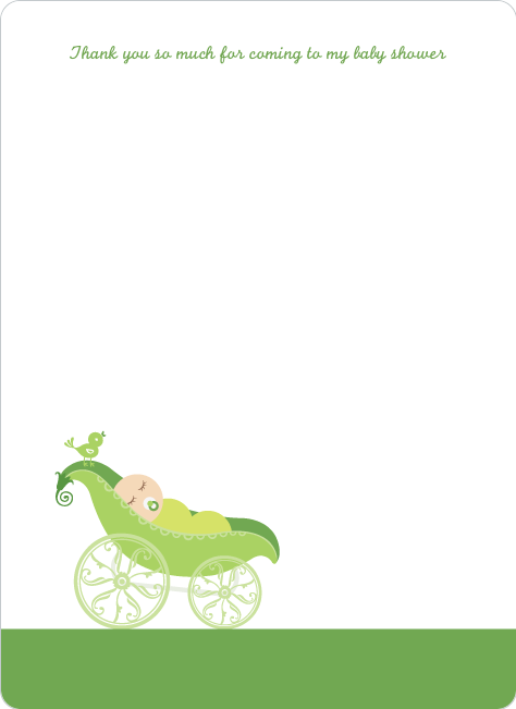 Thank You Card for Pea in Pod Baby Shower Invitation - Asparagus