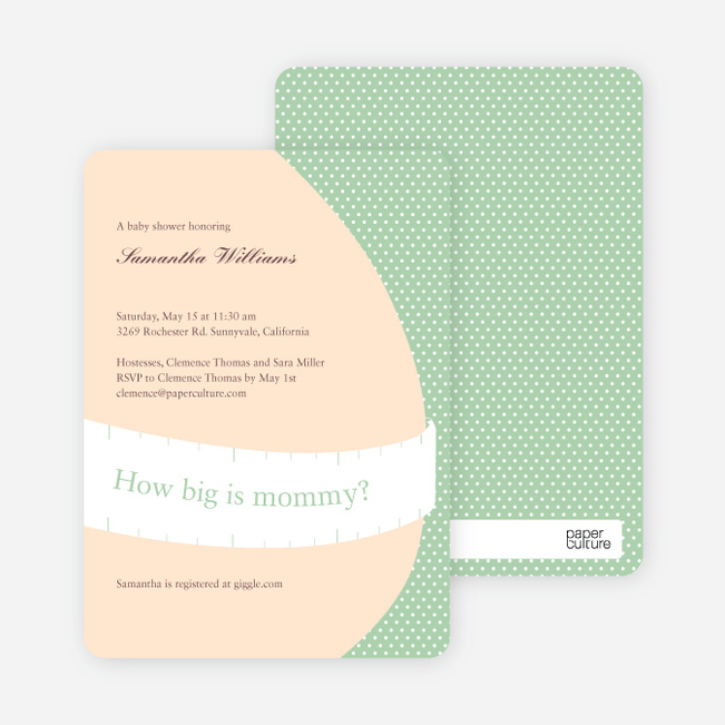The Bump Baby Shower Invitations - Pistachio