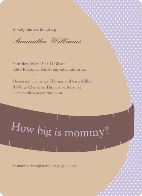 The Bump Baby Shower Invitations - Lilac
