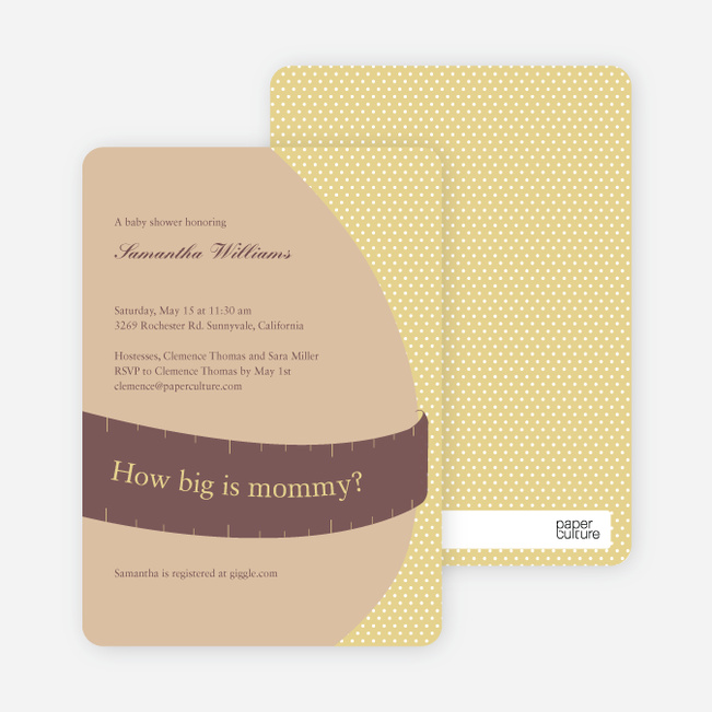 The Bump Baby Shower Invitations - Mustard