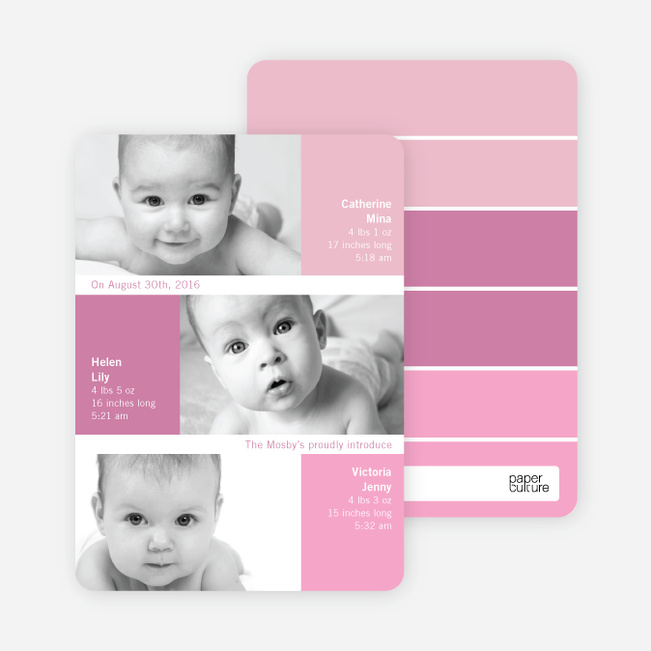 Triple Threat Triplet Baby Announcements - Fuschia