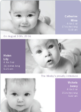 Triple Threat Birth Announcements - Grape