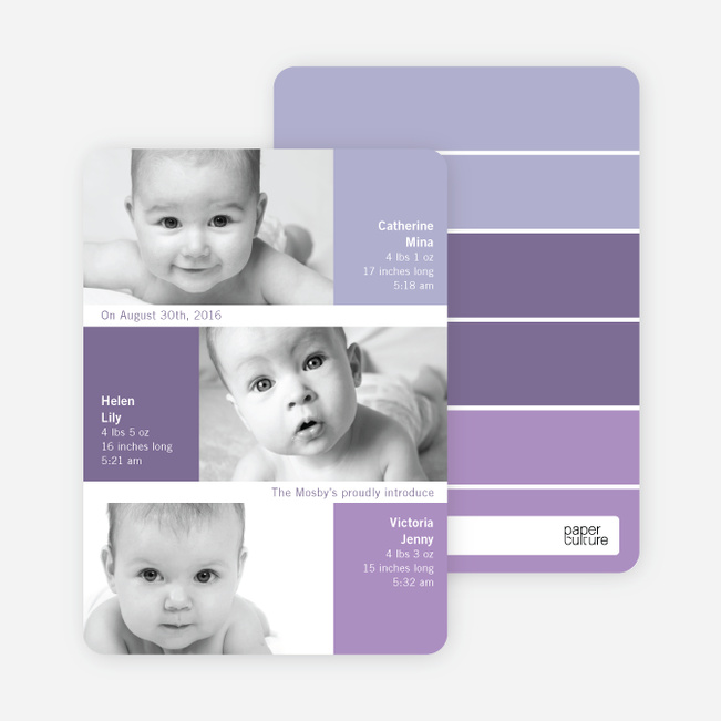 Triple Threat Triplet Baby Announcements - Grape