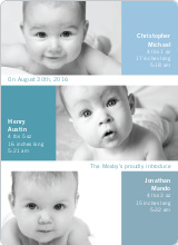 Triple Threat Birth Announcements - Cadet Blue