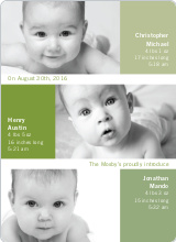 Triple Threat Triplet Baby Announcements - Kiwi