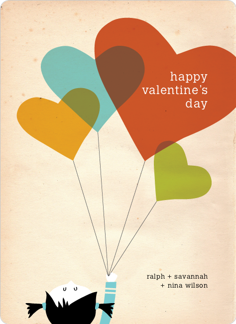 Vintage Valentine's Day Card - Orange