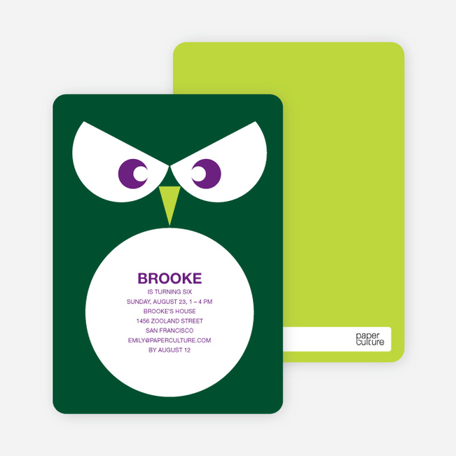Wise Owl Modern Birthday Invitation - Forest Green
