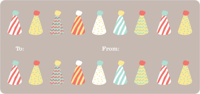 Birthday Hat Gift Tag Stickers - Blue