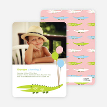 Alligator or Crocodile Invitation - Lime Bright