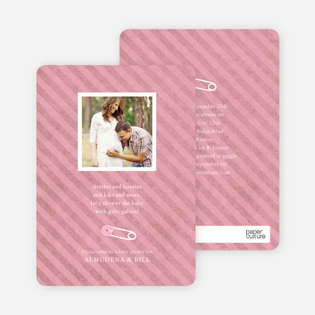Baby Pin Shower Invitation - Hot Pink