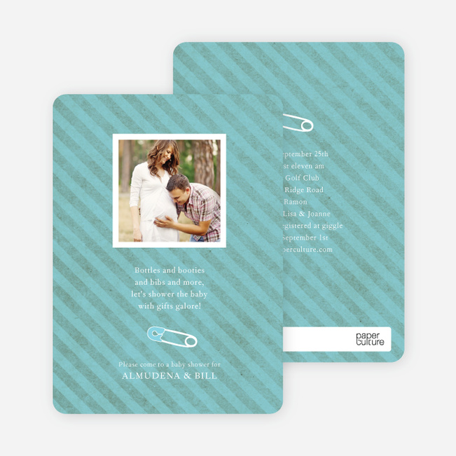 Baby Pin Shower Invitation - Aquamarine