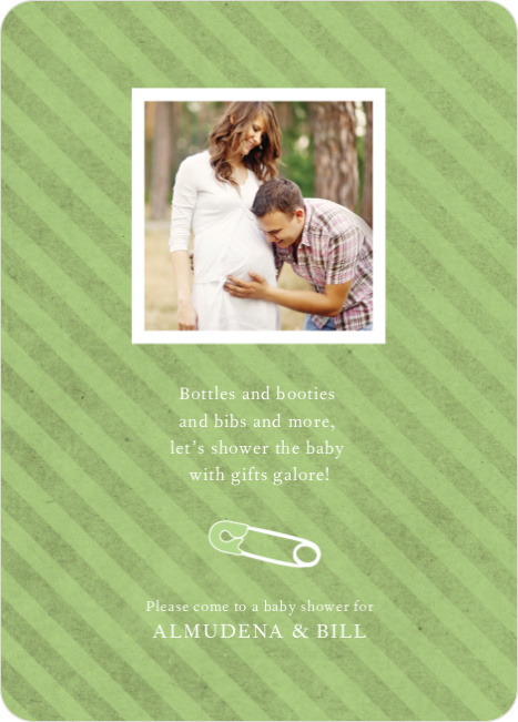 Baby Pin Shower Invitation - Celery