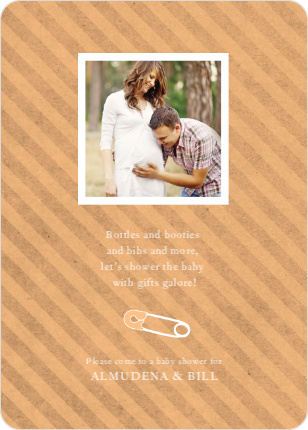 Baby Pin Shower Invitation - Peach