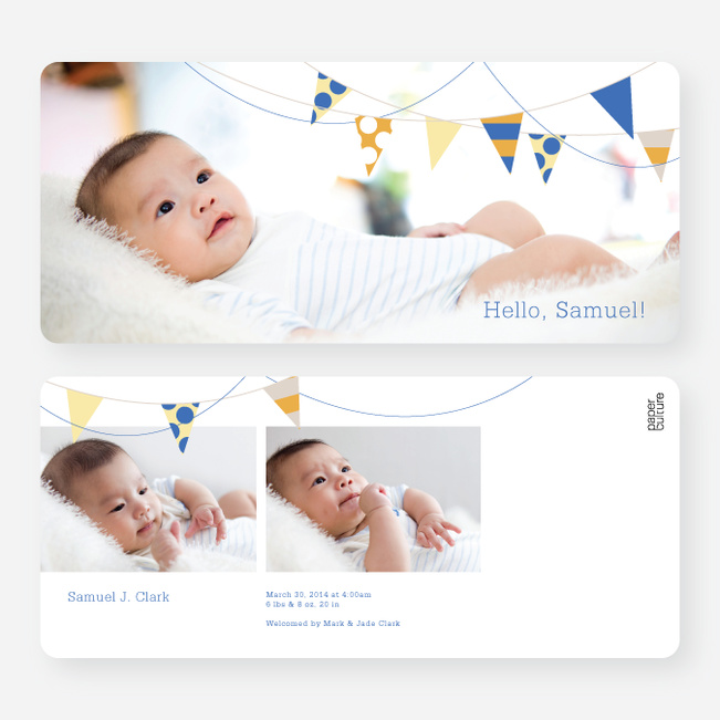Baby Announcements: Birth Flags - Blue