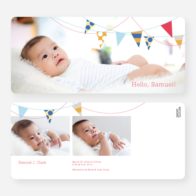 Birth Flags Baby Announcements - Red