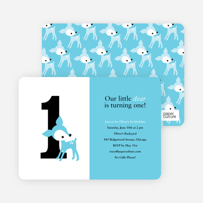 Blue Deer 1st Birthday Invitation - Sea Breeze Blue
