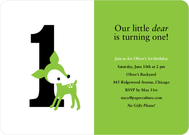 Blue Deer 1st Birthday Invitation - Meadow Green