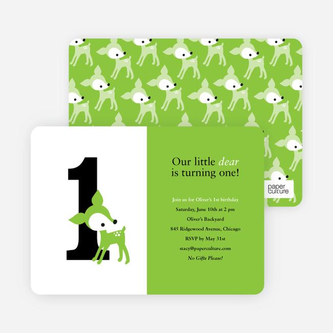 Blue Deer 1st Birthday Invitation - Meadow Green