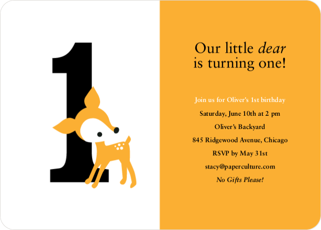 Blue Deer 1st Birthday Invitation - Peach Orange